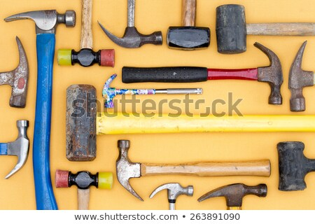 Display of a diversity of hammers in a tool kit Stock photo © ozgur