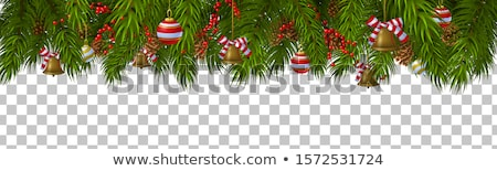 christmas border ribbons elegant pine cones stock photo © irisangel
