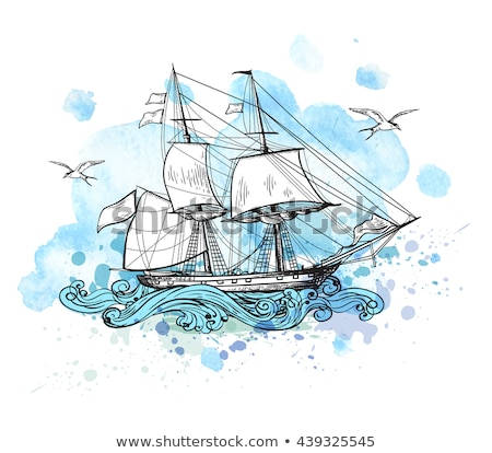Sea Ship Marine Vector Watercolor Concept Stock photo © Anna_leni