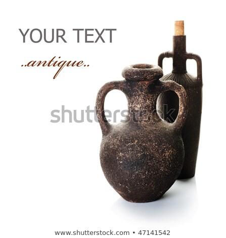 kavanoz · çanak · çömlek · yalıtılmış · beyaz · turuncu · içmek - stok fotoğraf © ozaiachin