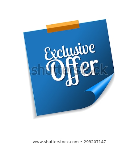 exclusive offer blue sticky notes vector icon design stock photo © rizwanali3d