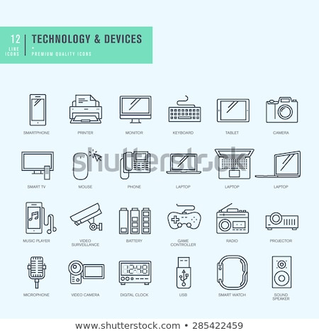 monitor and computer mouse thin line icon stock photo © rastudio