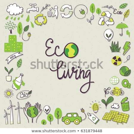 green recycle bin and ecology doodle icons stock photo © netkov1