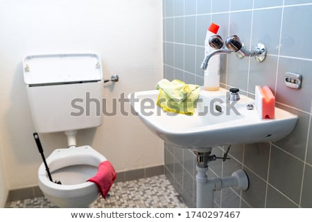 Old clean toilet with old tiles Stock photo © michaklootwijk