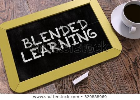 ストックフォト: 学習 · 黒板 · 時間 · スタック · 図書