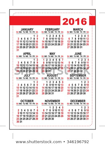 Stock photo: 2016 pocket calendar. Template grid. Horizontal orientation days of week