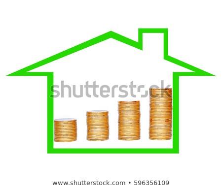 Veel munten kolom geïsoleerd witte Stockfoto © tetkoren