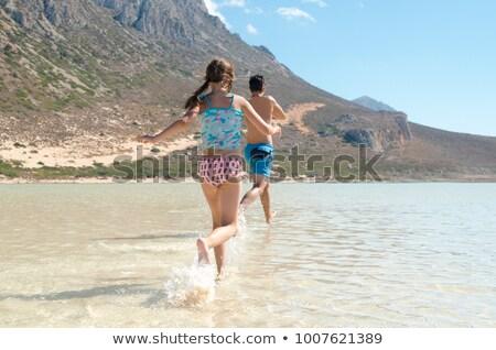 Stockfoto: Lopen · water · strand · gelukkig · gezicht