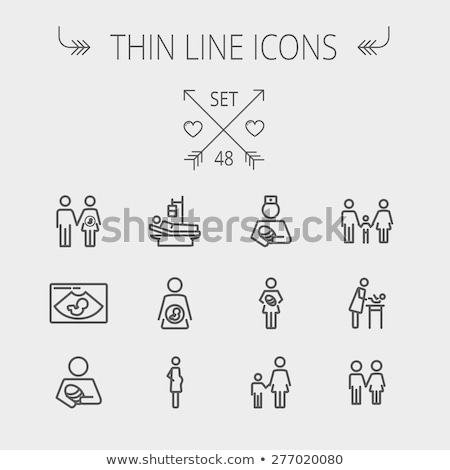 husband with pregnant wife line icon stock photo © rastudio