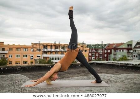 Downward facing dog pose with left leg up Stock photo © bezikus