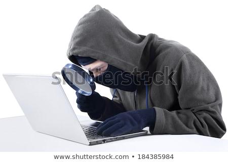 Kapucnis számítógép hacker nagyító internet online Stock fotó © stevanovicigor