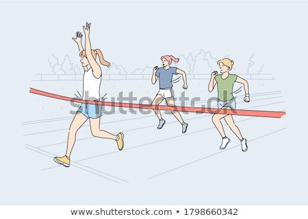 happy running woman winning   fitness success stock photo © maridav