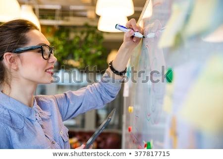 Homme · homme · d'affaires · écrit · bureau · marqueur - photo stock © dolgachov