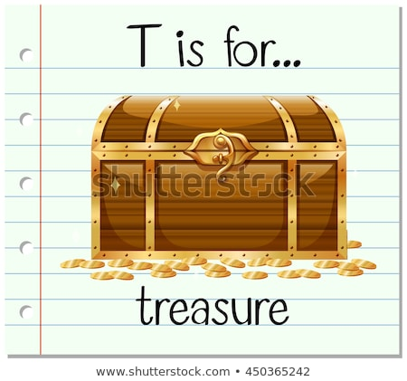 Flashcard letter T is for treasure chest Stock photo © bluering