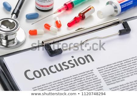 Diagnózis fejfájás írott vágólap kórház gyógyszer Stock fotó © Zerbor