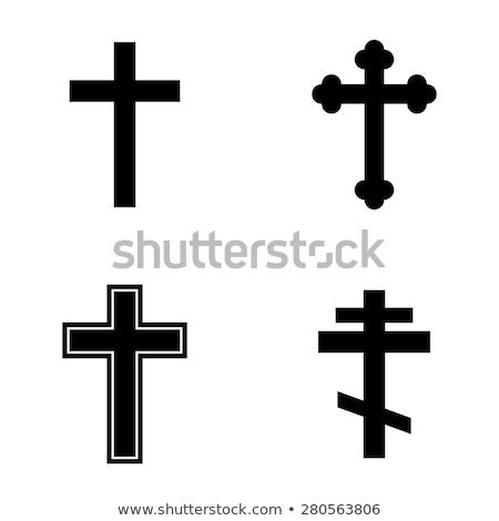 クリスチャン · クロス · シルエット · 実例 · 太陽 · ライト - ストックフォト © margolana