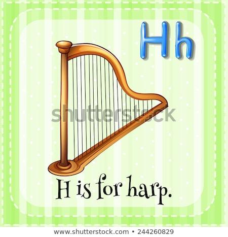 H betű hárfa illusztráció zene gyerekek gyermek Stock fotó © bluering