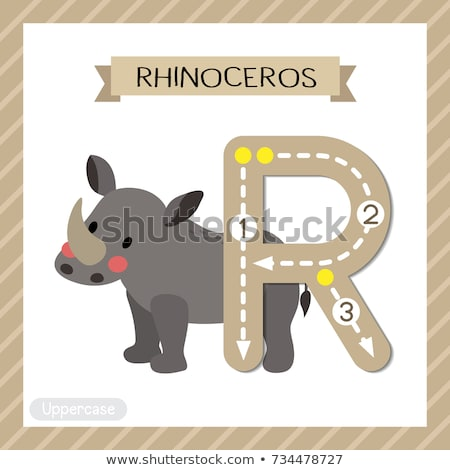 R betű orrszarvú illusztráció gyerekek természet gyermek Stock fotó © bluering
