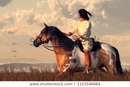 Nativo indio caballo ilustración naturaleza hombres Foto stock © adrenalina