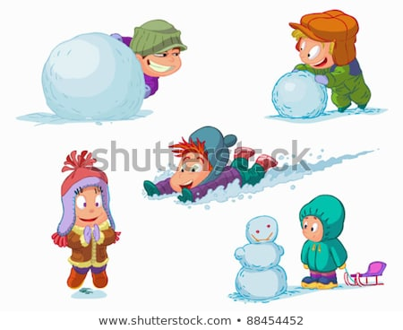 Boy and girl playing snowballs Stock photo © orensila