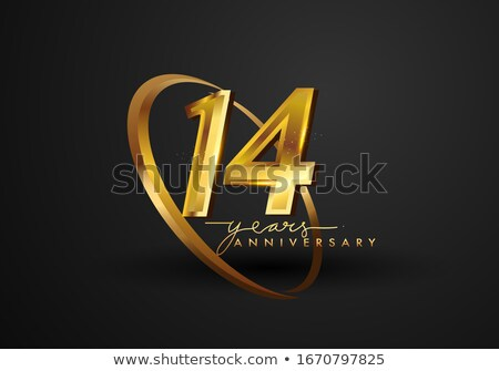 14th anniversary celebration badge label in golden color Stock photo © SArts