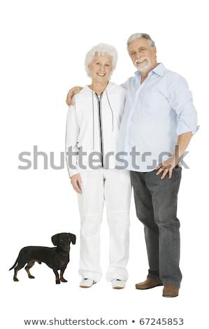 yaşlı · çift · daksund · adam · kot · gülen - stok fotoğraf © ambro