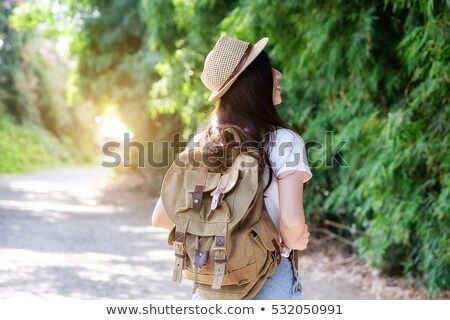 Teen girl hiker on mountain foto stock © Yongkiet