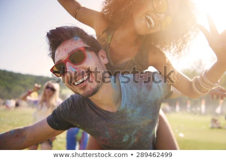 Mãos amor casal festival cores homem Foto stock © Yatsenko
