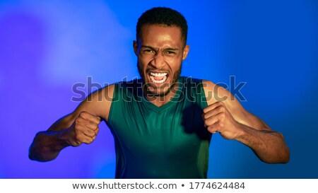 сердиться · молодые · африканских · спортсмен · Постоянный · черный - Сток-фото © deandrobot