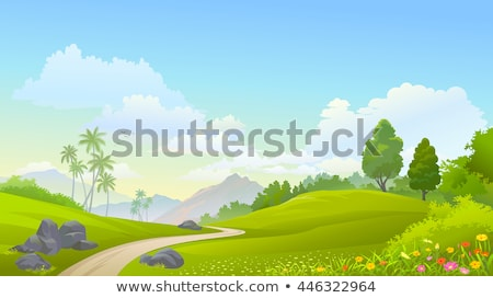 Green Landscape with trees, clouds, flowers  Stock photo © fresh_5265954