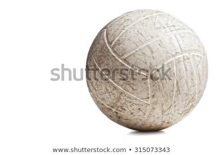 velho · usado · vôlei · bola · vintage · escuro - foto stock © andreasberheide