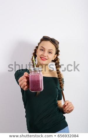 Foto stock: Mulher · oferta · mirtilos · fresco · maduro · orgânico
