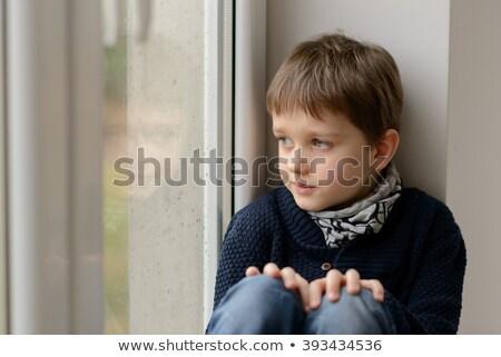 Portré kicsi csinos figyelmes fiú néz Stock fotó © zurijeta