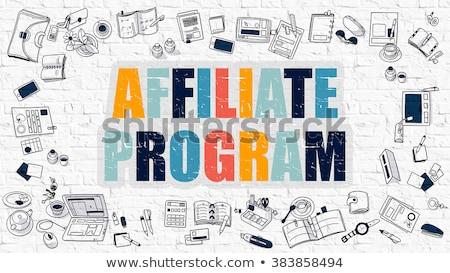 Stockfoto: Affiliate Program In Multicolor Doodle Design