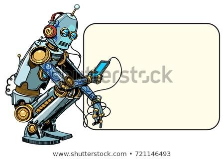 Robot telefon yeni pop art Stok fotoğraf © studiostoks