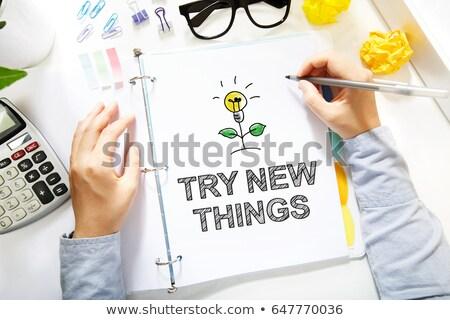try something new   cartoon yellow word business concept stock photo © tashatuvango