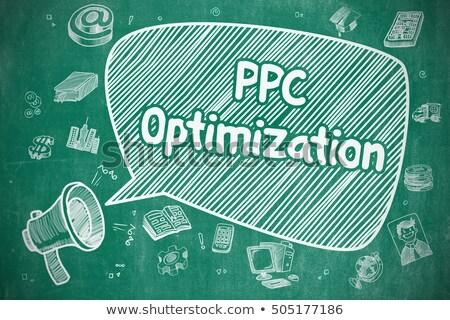 Ppc optimalizálás rajz illusztráció kék tábla Stock fotó © tashatuvango
