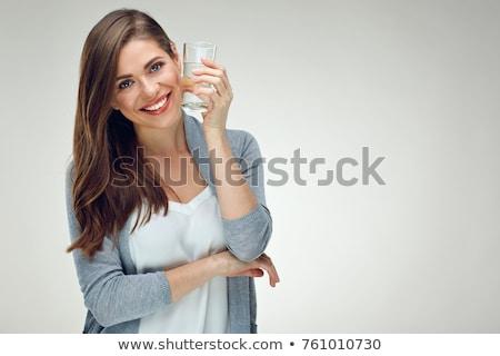 Business woman Trinkwasser Frau Büro Glas Gläser Stock foto © IS2
