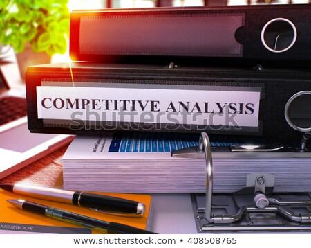 Fekete gyűrű felirat versenyképes elemzés dolgozik Stock fotó © tashatuvango