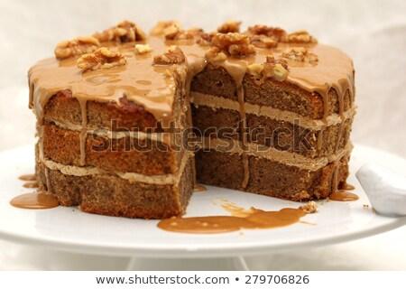 chocolate and walnuts cake stock photo © keko64