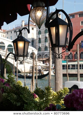 atmosphere of canal grande by lamplight   venic stock photo © wjarek