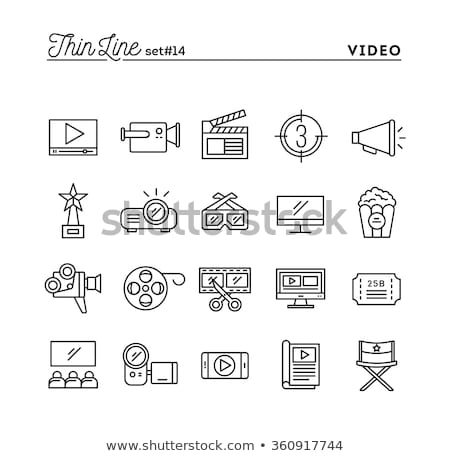 фильма обратный отсчет линия икона вектора изолированный Сток-фото © RAStudio