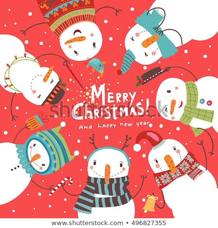 Stock fotó: Set Christmas Cute Cards Beautiful Congratulations New Year To