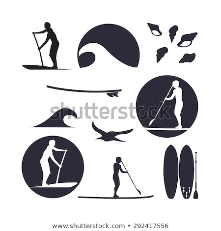 Stock photo: paddle surf silhouette