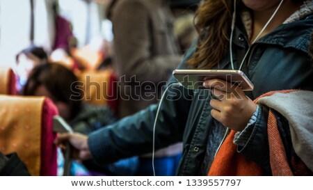 Vrouw telefoon trein station moderne telefoon Stockfoto © Kzenon