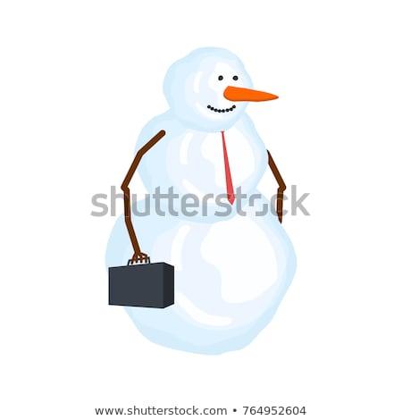 Kardan adam işadamı kış patron kar müdür Stok fotoğraf © MaryValery