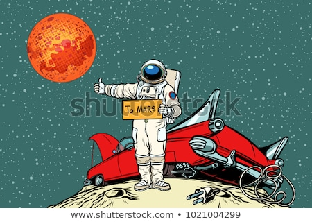 The road to Mars. car broke down in space, astronaut hitchhiker Stock photo © studiostoks