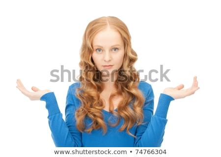 женщину беспомощный Плечи фотография счастливым Новости Сток-фото © dolgachov