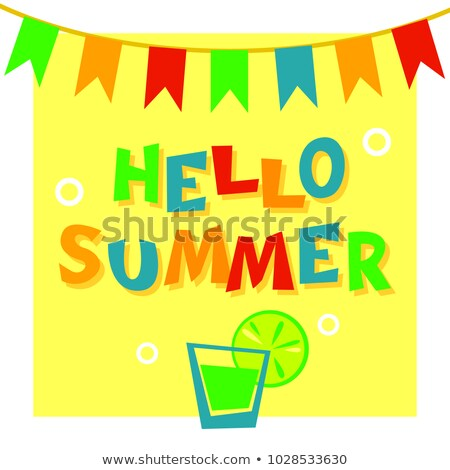 Hello summer phrase on yellow background with bunting flags and  Stock photo © vasilixa