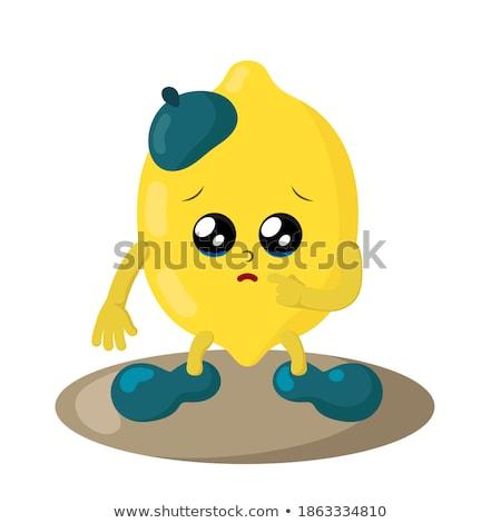 Zdjęcia stock: Płacz · żółty · cytryny · owoców · cartoon · twarz